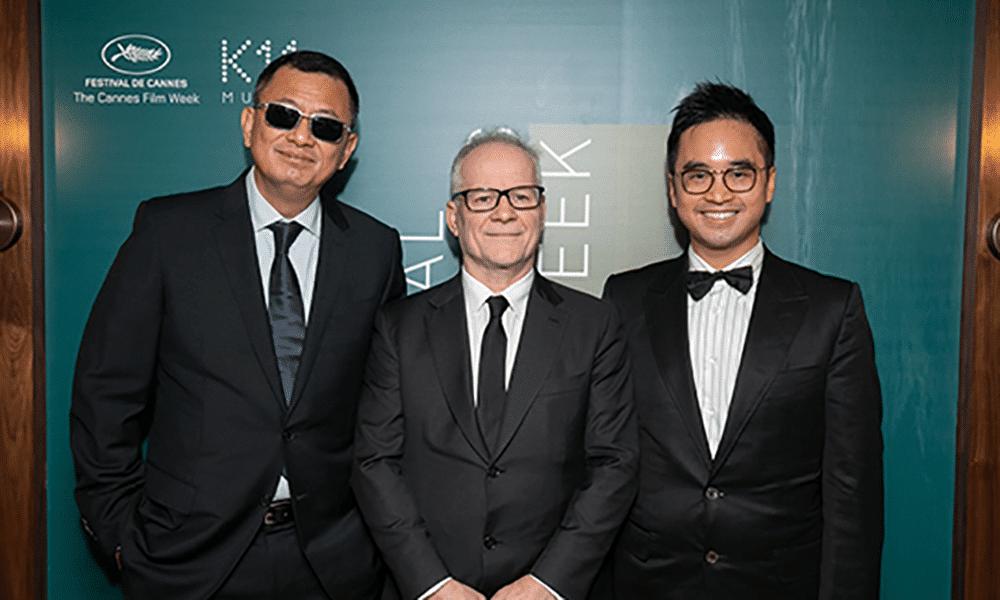 Le réalisateur Wong Kar-wai aux côtés de Thierry Frémaux et Adrian Cheng